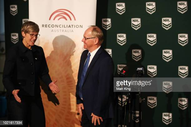 Reconciliation Australia CoChair Melinda Cilento talks to ARL Commission Chairman Peter Beattie during a NRL Media opportunity in recognition of the...