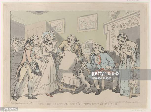 Reconciliation or the Return from Scotland December 17 1785 Artist Thomas Rowlandson