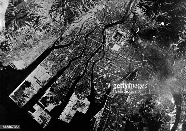 Reconnaissance view before bombing of the Japanese Army base at Hiroshima the first target of the atomic bomb