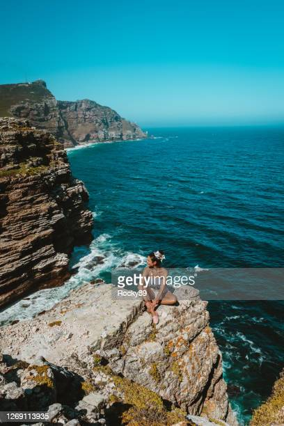 reconnection to nature – appreciation of the beauty of mother nature at cape point, south africa - nature reserve stock pictures, royalty-free photos & images