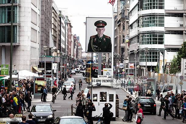 Reconstructed American gateway of Checkpoint Charlie in Berlin Germany