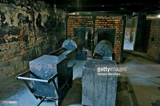 Reconstructed crematorium ovens at the Auschwitz I German Nazi concentration and extermination camp, southern Poland, 2014. The site is now part of...