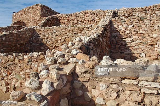 Reconstructed Pueblo Walls, North Central Rooms and Citadel, Tuzigoot Sinagua Pueblo, Tuzigoot National Monument, Verde Valley, Arizona.