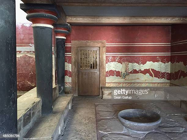 A reconstructed room stands in the partiallyreconstructed ruins of the ancient Minoan city of Knossos on the island of Crete on August 22 2015 in...