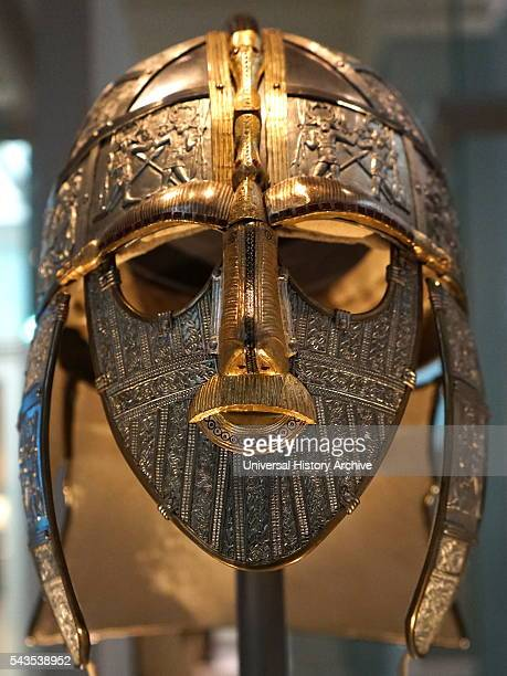Reconstructed Sutton Hoo Helmet, which was part of the Staffordshire Hoard is the largest hoard of Anglo-Saxon gold and silver metalwork. Dated 5th...