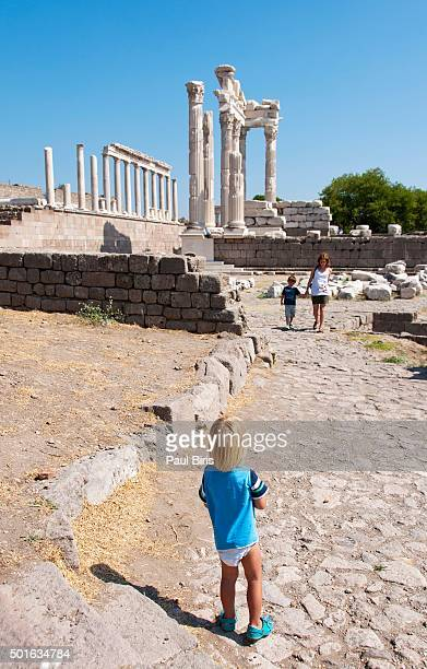 reconstructed temple of trajan, pergamon ancient city, turkey - bergama stock pictures, royalty-free photos & images