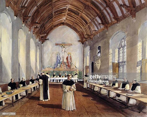 Reconstruction drawing of the interior of the refectory of the Cistercian monastery of Cleeve Abbey, Somerset, as it might have looked one mealtime...