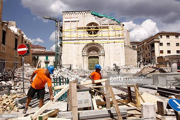 Reconstruction in L' Aquila after the earthquake on August 08, 2009 in L'Aquila, Italy.