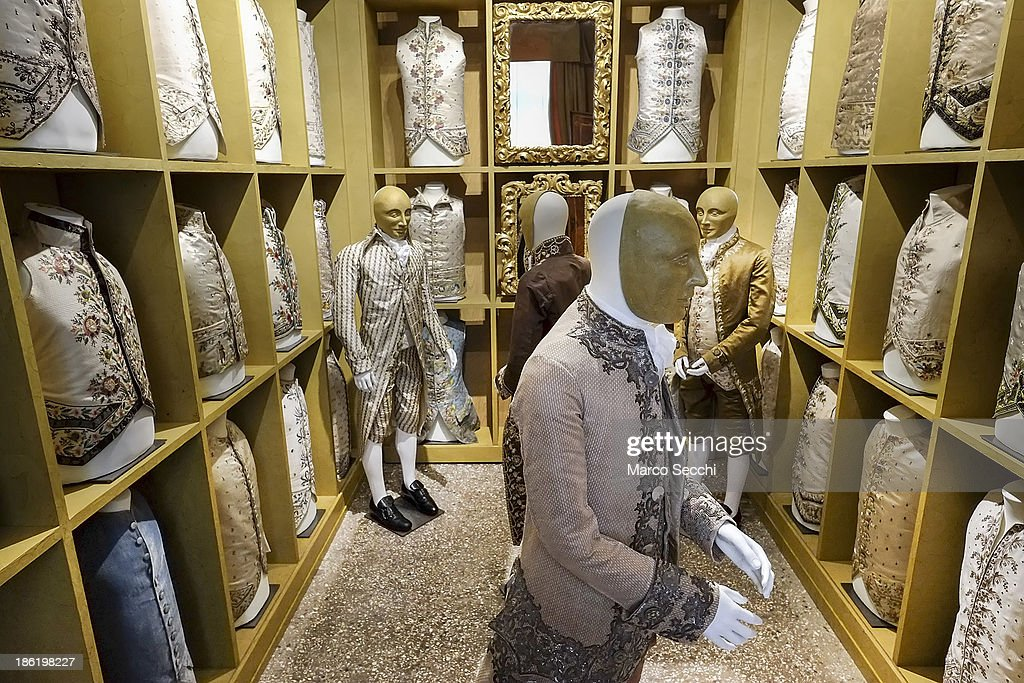 A reconstruction of a gentleman's wardrobe featuring more than 50 items of clothing is seen during the press preview of the perfume exhibition on October 29, 2013 in Venice, Italy. The new perfume section at the Venetian Museum of eighteenth-century lifestyle Palazzo Mocenigo will open on the 1st of November.