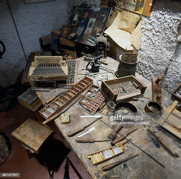 Reconstruction of a laboratory for the production of handmade accordions International Museum of the Accordion Castelfidardo Marche Italy...