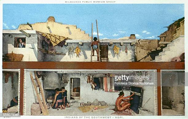 ' Reconstruction of a large community houses in stone where it shows moments in the daily life of the Hopi Indians natives of southwestern land...