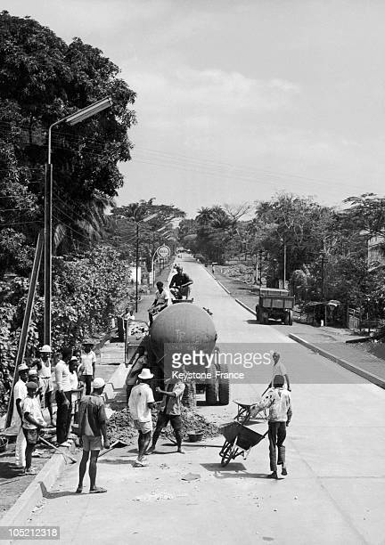 Reconstruction Of A Road In The Guinean Capital April 4 1962