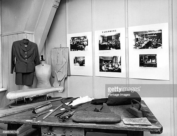 Reconstruction of a tailor's workshop in London's East End Exhibit in the Museum of the Jewish East End showing the equipment used by a tailor...