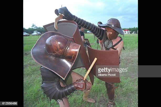 Reconstruction of authentic gladiator fighting.