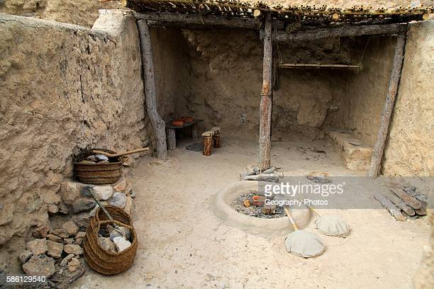Reconstruction of buildings Los Millares prehistoric Chalcolithic settlement archaeological site Almeria Spain