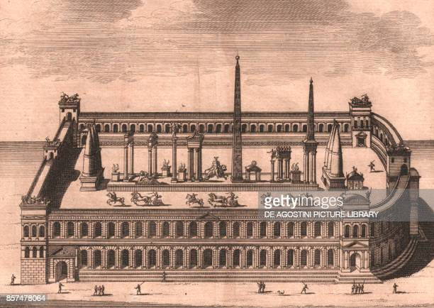 Reconstruction of Circus Maximus with chariot race, Rome, Italy, copper engraving, 16x13.5 cm, from Les delices de l'Italie, qui contiennent une...