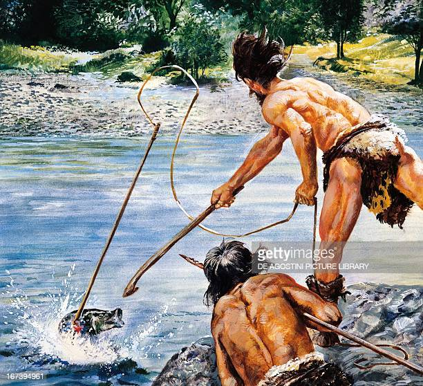 Reconstruction of daily life of primitive peoples in the Paleolithic Period fishing Drawing