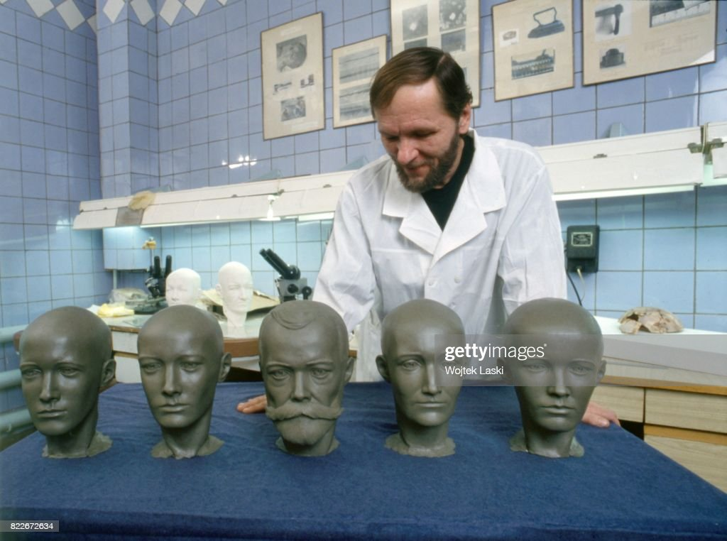 Reconstruction of heads of members of the Romanov family, murdered by the Bolsheviks in 1918. Scientists at the Central Institute of Pathology use the Gerasimov's facial reconstruction method. Pictured: scientist Sergei Nikitin from the Central Institute of Pathology works on models of heads of Tsar Nicholas II and his daughters. Moscow, Russia, 1994.