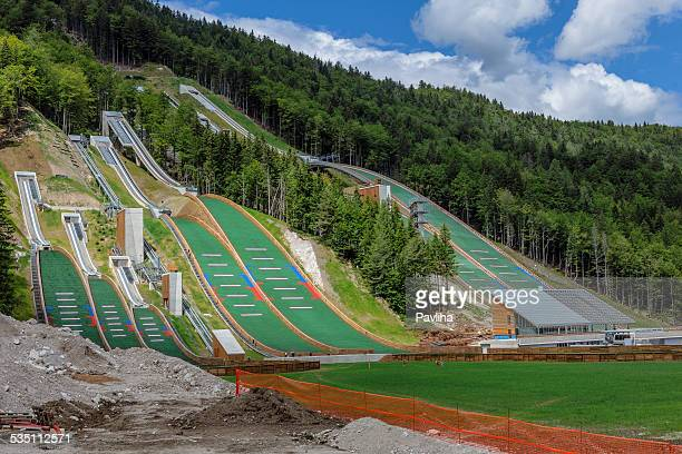 reconstruction of ski jumps in planica slovenia europe - slovenia stock pictures, royalty-free photos & images