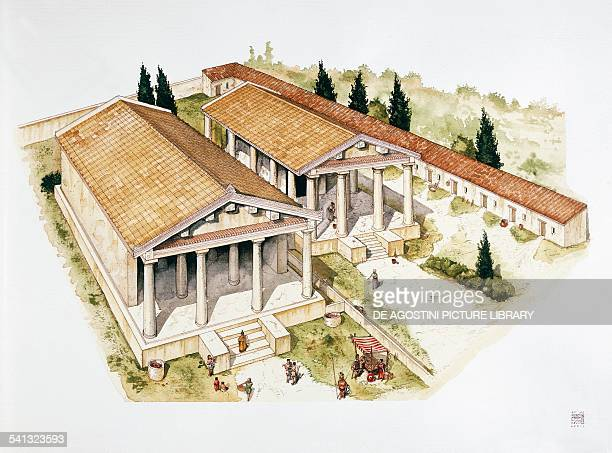 A reconstruction of Temple A and Temple B in Pyrgi drawing Lazio Italy Etruscan civilization 6th5th century BC