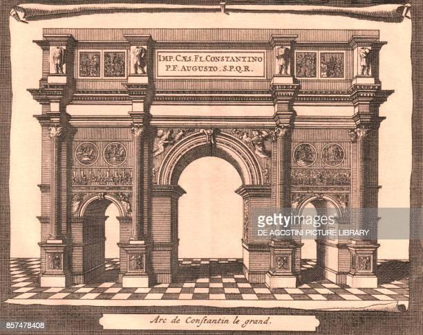 Reconstruction of the Arch of Constantine Rome Lazio Italy copper engraving ca 165x1355 cm from Les delices de l'Italie qui contiennent une...