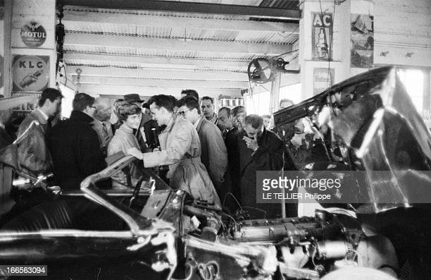 Reconstruction Of The Car Accident Of Francoise Sagan Dans un garage du PlessisChesnet le 19 octobre 1957 lors de la reconstitution de son accident...