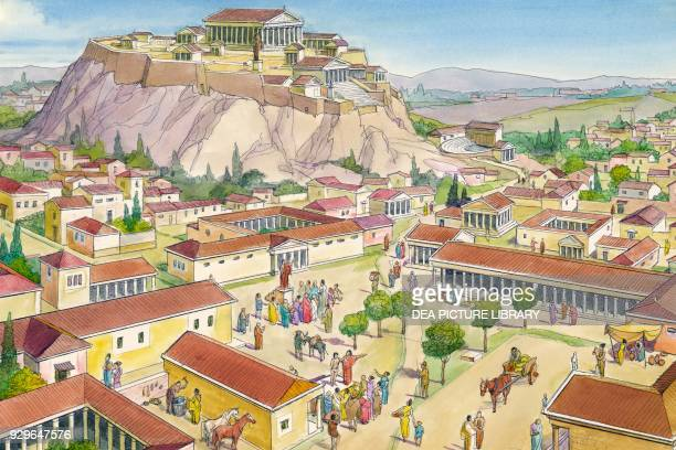 Reconstruction of the city of Athens Ancient Greece drawing