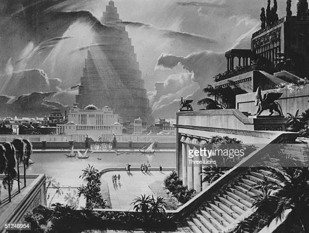 625 BC A reconstruction of the city of Babylon with the Tower of Babel in the distance and one of the Ancient Seven Wonders the Hanging Gardens built...