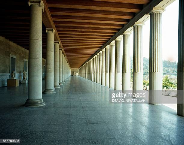 Reconstruction of the colonnade of the Stoa of Attalos Athens Greece Greek civilisation 2nd century BC