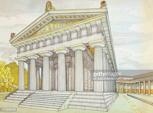 Reconstruction of the Doric Temple of Pompeii drawing Roman civilisation