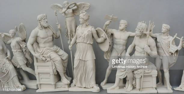 Reconstruction of the East pediment of Parthenon, Acropolis of Athens. According the drawing of K. Schwerzek, 1904. Birth of Athena. Detail of the...