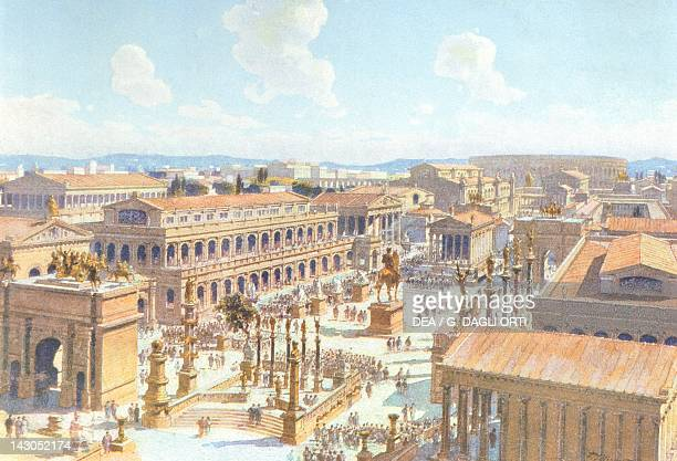 Reconstruction of the east side of the Roman Forum in the 4th century coloured engraving by Theodor Josef Hubert Hoffbauer Italy 1911 Paris...
