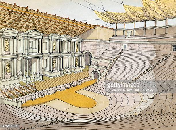 Reconstruction of the Grand Theatre in Pompeii drawing Roman civilisation