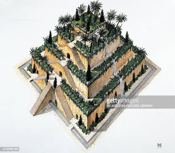 Reconstruction of the Hanging Gardens of Babylon ordered by King Nebuchadnezzar II, drawing. Babylonian civilisation.
