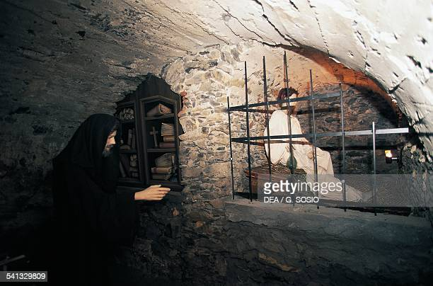 Reconstruction of the interrogation of a witch in the basement of the Museum of ethnography and witchcraft Triora Liguria Italy