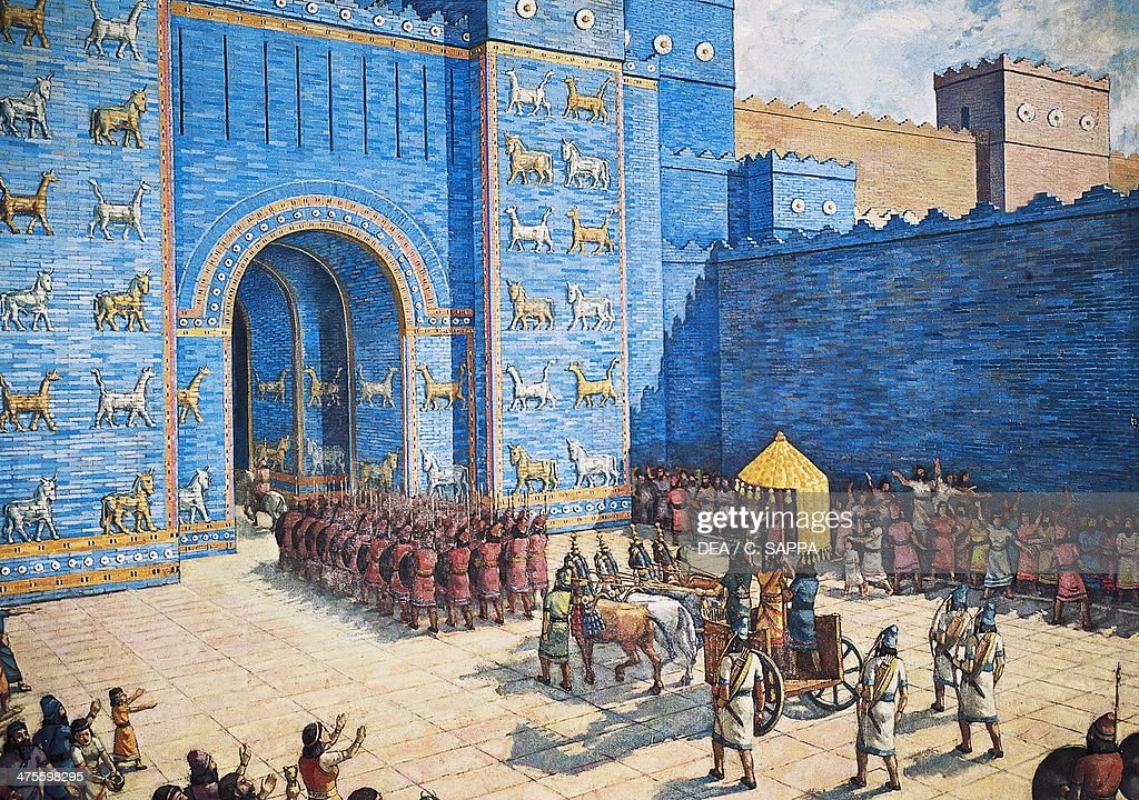 Reconstruction of Ishtar Gate in ancient Babylon : News Photo