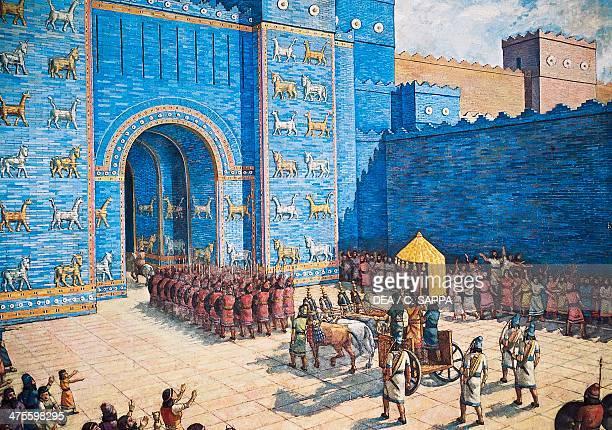 Reconstruction of the Ishtar Gate in ancient Babylon Babylonian civilisation 2nd millennium 6th century BC Illustration