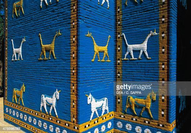 Reconstruction of the Ishtar Gate in Babylon Babylonian civilisation 2nd millennium 6th century BC Detail