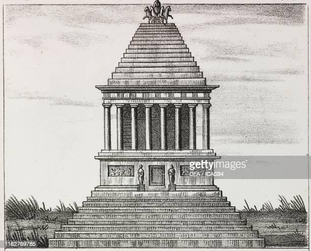 Reconstruction of the Mausoleum of Halicarnassus Turkey lithograph from Galleria universale di tutti i popoli del mondo ossia storia dei costumi...