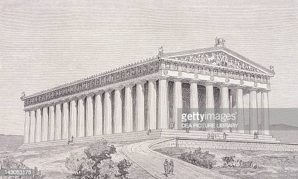 Reconstruction of the Parthenon in Athens at the time of Pericles by Thiersch engraving Greece 19th Century