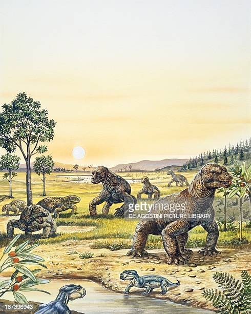 Reconstruction of the Permian Period in the foreground Anomodonts Eodicynodon sp left Pareiasaurs Bradysaurus sp right Dinocephalians Moschops sp...