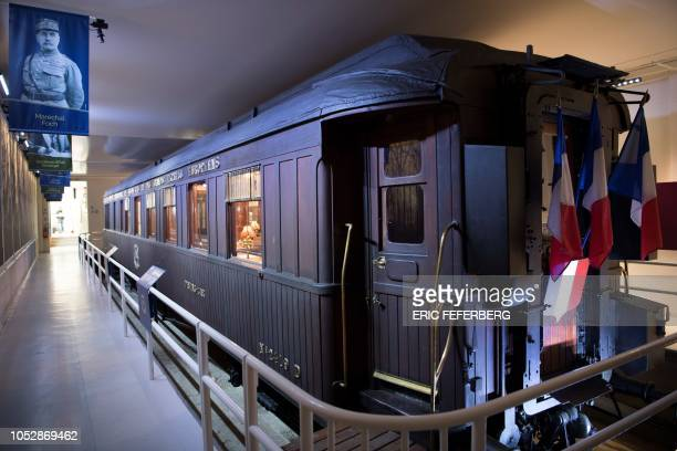 A reconstruction of the socalled Compiegne Wagon in which the November 11 1918 'Armistice of Compiegne' ending World War I was signed between France...