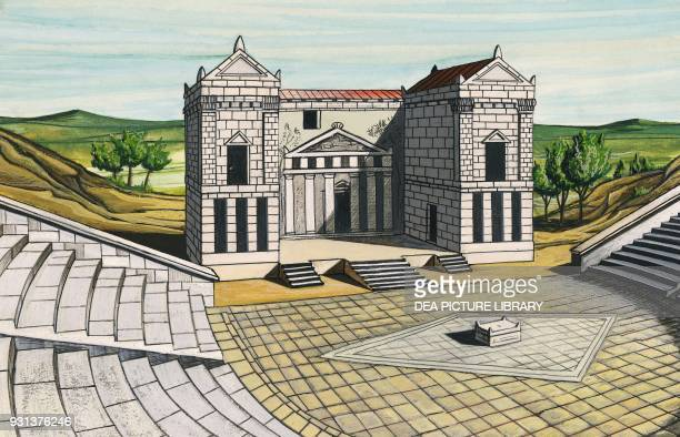 Reconstruction of the theatre of Dionysus Athens Greece drawing Greek civilization 5th century BC