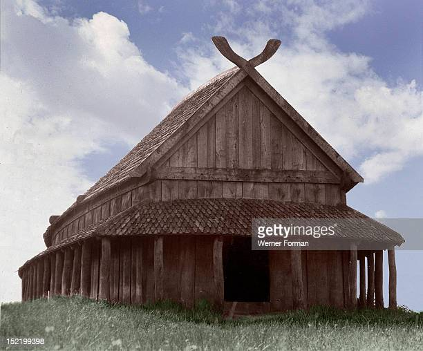 Reconstruction of the Viking barracks at the fortress of Trelleborg It is considered to have been built by Harold Bluetooth Denmark Viking...