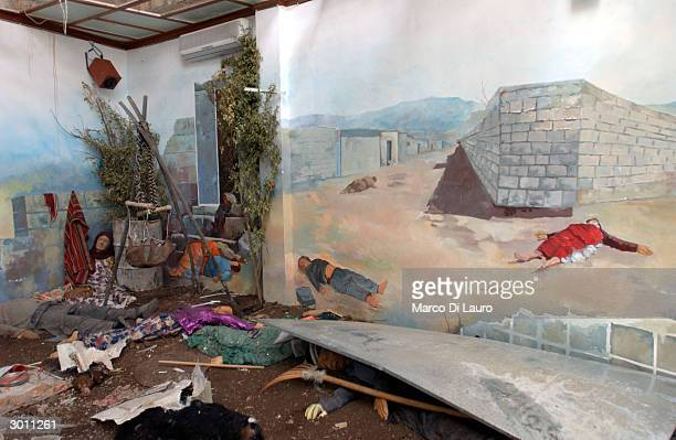 Reconstruction showing victims of the March 16, 1988 chemical attacks on Halabja is shown at the museum of the Victim's Memorial February 24, 2004 in...