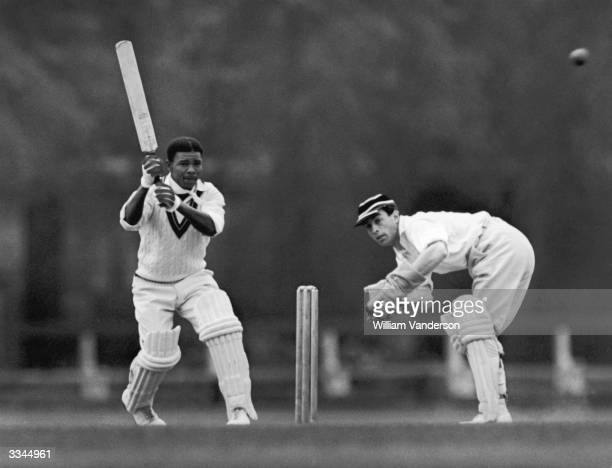 Record breaking batsman Everton Weekes playing for the West Indies against Cambridge Univeristy at Fenners Athletic Ground The wicket keeper is W H...