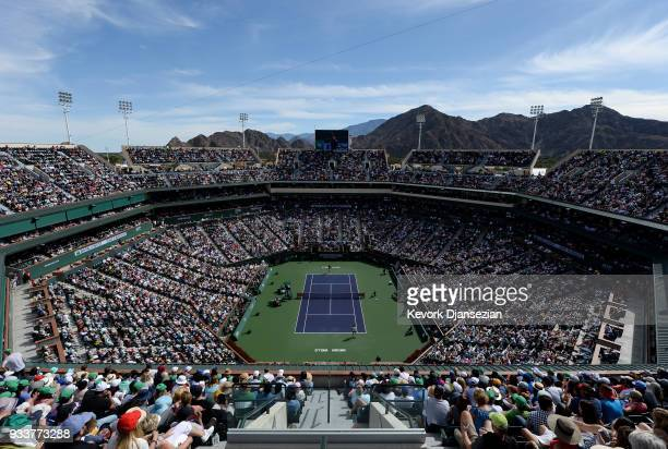 A record crowd watches the men's final on center court between Roger Federer of Switzerland and Juan Martin Del Potro of Argentina on Day 14 of BNP...
