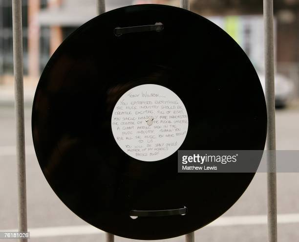 A record in memory of Tony Wilson is left on the railings outside the Hacienda Apartments which was a club that Tony managed on August 20 2007 in...