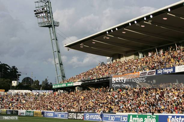 Record Mariners crowd watches play during the round 15 A-League match between the Central Coast Mariners and Sydney FC at Bluetongue Stadium on...
