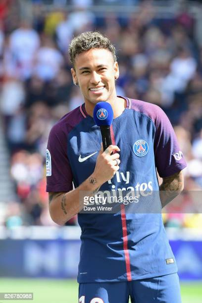 Record new signing Neymar JR of PSG is presented to the crowd before the Ligue 1 match between Paris Saint Germain and Amiens SC at Parc des Princes...